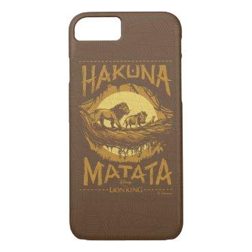 "Lion King   ""Hakuna Matata"" Woodcut Design iPhone 8/7 Case"