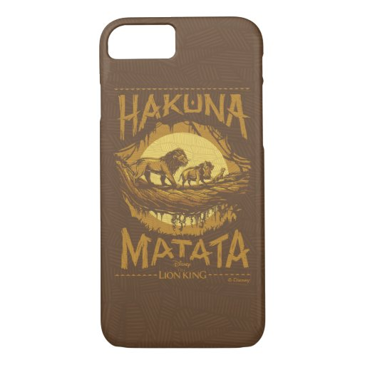 "Lion King | ""Hakuna Matata"" Woodcut Design iPhone 8/7 Case"