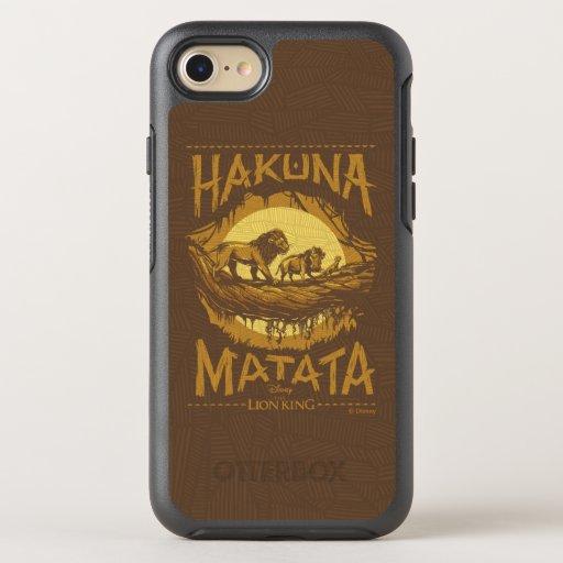 "Lion King | ""Hakuna Matata"" Woodcut Design OtterBox Symmetry iPhone 8/7 Case"