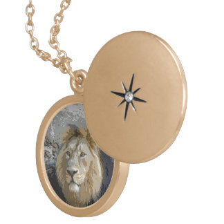 lion king round locket necklace
