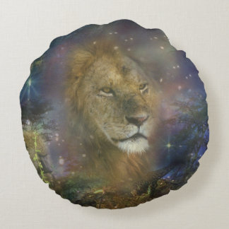 Lion King of Jungle Beasts Round Pillow