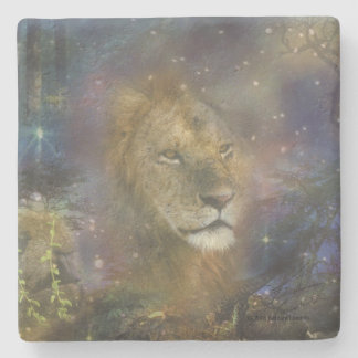 Lion King of Jungle Beasts Stone Coaster
