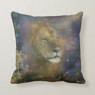 Lion King of Jungle Beasts Throw Pillow