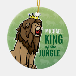Lion King of the Jungle, Add Child's Name Double-Sided Ceramic Round Christmas Ornament