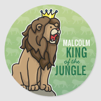 Lion King of the Jungle, Add Child's Name Classic Round Sticker