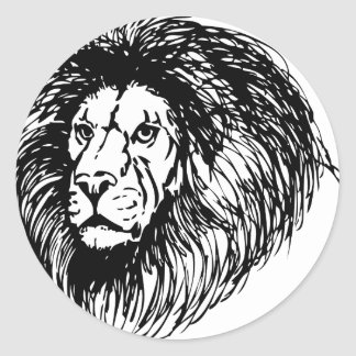 lion - king of the jungle classic round sticker
