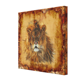 Lion King of the Jungle Egyptian Grunge Art Canvas Canvas Print
