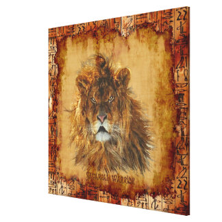 Lion King of the Jungle Egyptian Grunge Art Canvas Gallery Wrapped Canvas