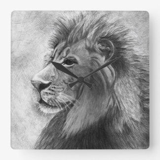 Lion, King of the Jungle - Hand Drawn Square Wall Clock