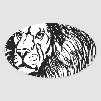 lion - king of the jungle oval sticker