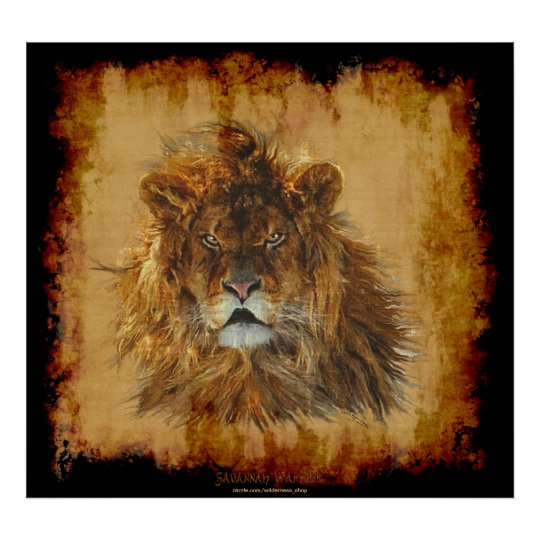Lion King of the Jungle Wildlife Art Poster