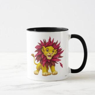 Lion King Simba cub mane of pink red leaves Disney Mug