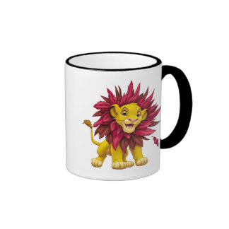 Lion King Simba cub mane of pink red leaves Disney Ringer Coffee Mug