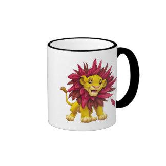 Lion King Simba cub mane of pink red leaves Disney Ringer Mug
