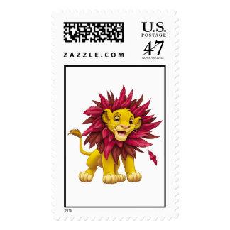 Lion King Simba cub mane of pink red leaves Disney Stamp