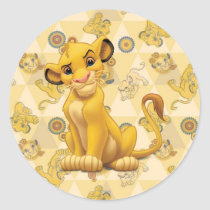 Lion King | Simba on Triangle Pattern Classic Round Sticker