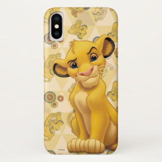 Lion King | Simba on Triangle Pattern iPhone X Case