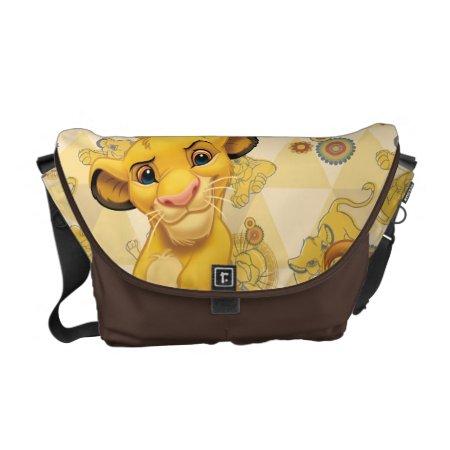 Lion King   Simba On Triangle Pattern Messenger Bag