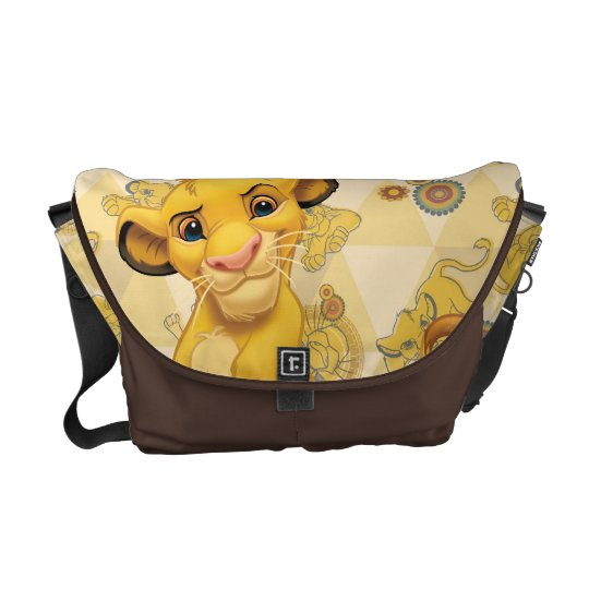 Lion King Simba On Triangle Pattern Messenger Bag