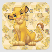 Lion King | Simba on Triangle Pattern Square Sticker