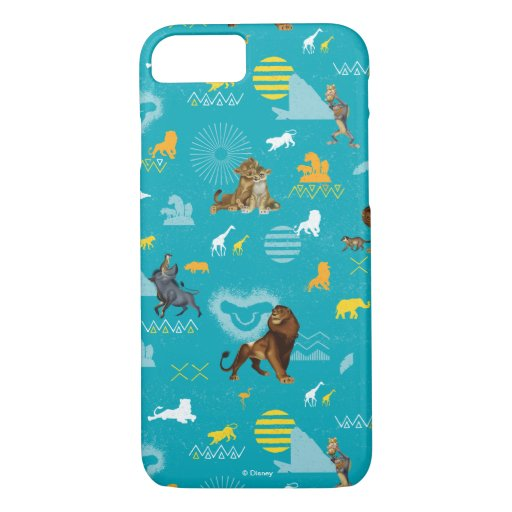 Lion King | Teal Characters & Icons Pattern iPhone 8/7 Case