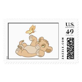 Lion King's Baby Simba Playing Disney Postage Stamp
