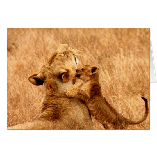 lion kiss and love mom card