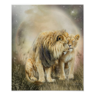 Lion Kiss Art Poster/Print Poster