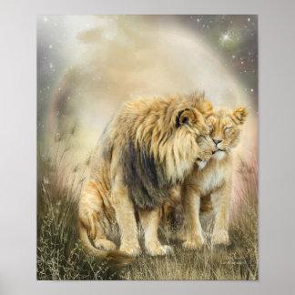 Lion Kiss Art Poster/Print Poster