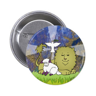 Lion Lamb and Dove 2 Inch Round Button