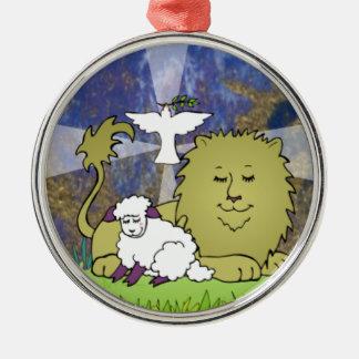 Lion Lamb and Dove Metal Ornament
