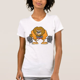 Lion Lifing Weights Womens T-Shirt