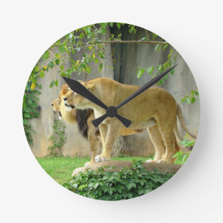 Lion Lioness Wall Clock