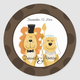 Lion & Lioness Wedding Couple Stickers
