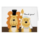Lion & Lioness Wedding Couple Thank you Note Card