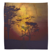 Lion Looking Over African Sunset Bandana