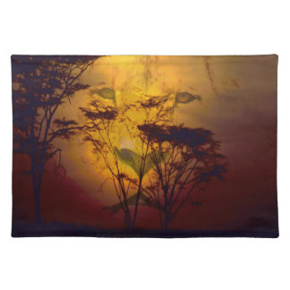 Lion Looking Over African Sunset Cloth Placemat