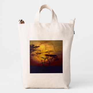 Lion Looking Over African Sunset Duck Bag