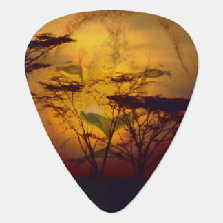 Lion Looking Over African Sunset Guitar Pick