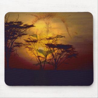 Lion Looking Over African Sunset Mouse Pad