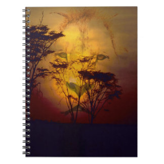 Lion Looking Over African Sunset Notebook