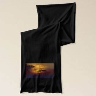 Lion Looking Over African Sunset Scarf