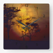 Lion Looking Over African Sunset Square Wall Clock