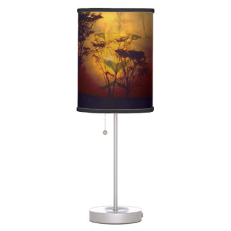 Lion Looking Over African Sunset Table Lamp