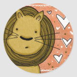 Lion Love Classic Round Sticker