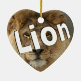 LION LOVER HEART SHAPED CHRISTMAS ORNAMENT