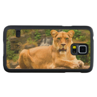 Lion Lying on Rock Carved® Maple Galaxy S5 Case