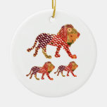 LION -  Majestic KING of animals Double-Sided Ceramic Round Christmas Ornament
