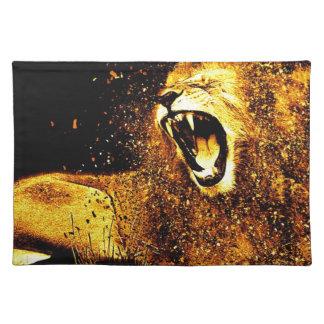 Lion Mane Hair Fur Cat Predator Males Head Cloth Placemat