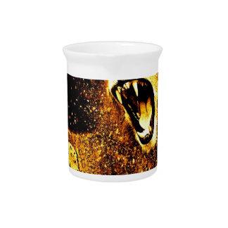 Lion Mane Hair Fur Cat Predator Males Head Drink Pitcher